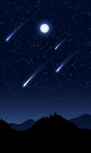 山の上を走る流れ星