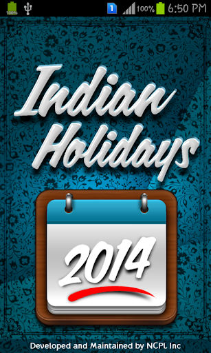 Indian Holidays List 2014