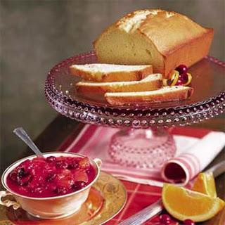 Ginger Pound Cake with Glazed Cranberry Ambrosia.