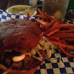 Cheeseburger and sweet potato fries