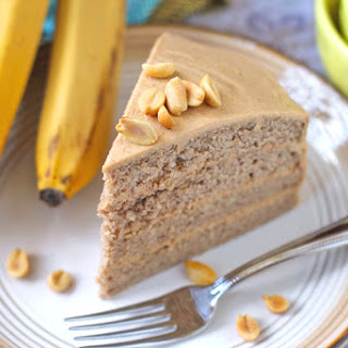 Healthy Banana Cake with Peanut Butter Frosting [low fat and gluten free!].