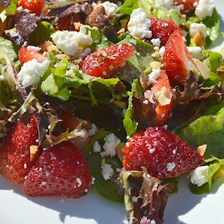 Mixed Greens with Feta, Strawberries, & Almonds