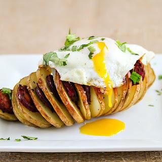 Hassleback Potatoes with Chorizo and Eggs