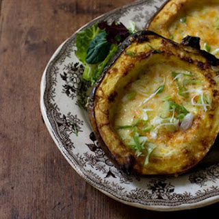 Roasted Corn Pudding in Acorn Squash.