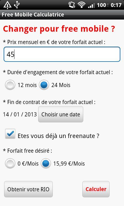 Free Mobile Calculatrice- screenshot