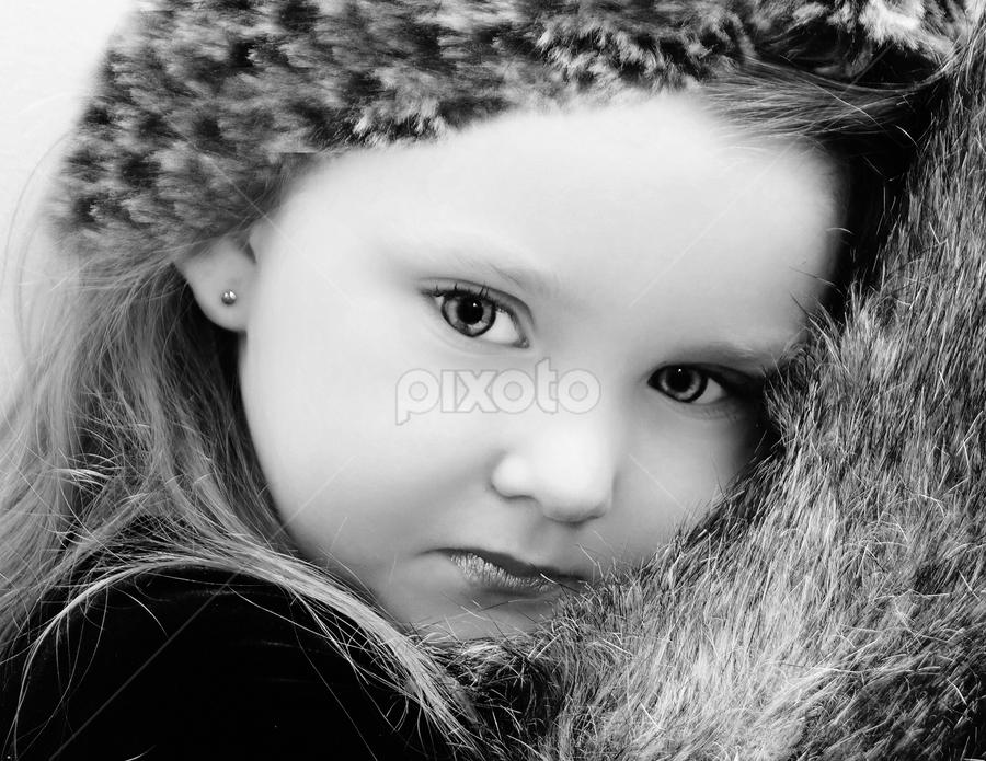 Soft Fur Muffs BW by Cheryl Korotky - Black & White Portraits & People (  )