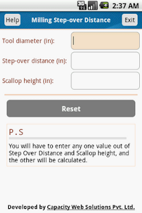 Milling Stepover Distance Calc - screenshot thumbnail