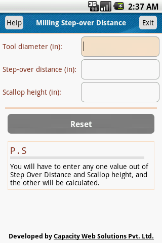 Milling Stepover Distance Calc- screenshot