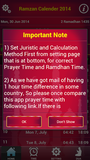 Ramadan 2014 Prayer Time