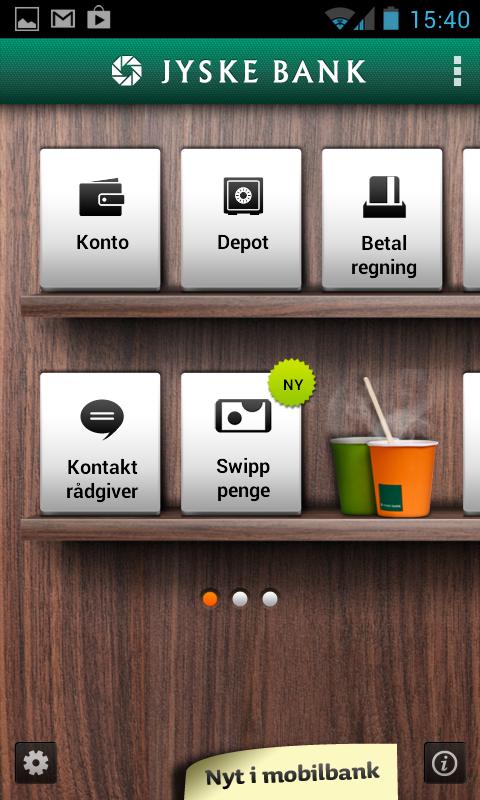 Jyske Mobilbank med Swipp- screenshot