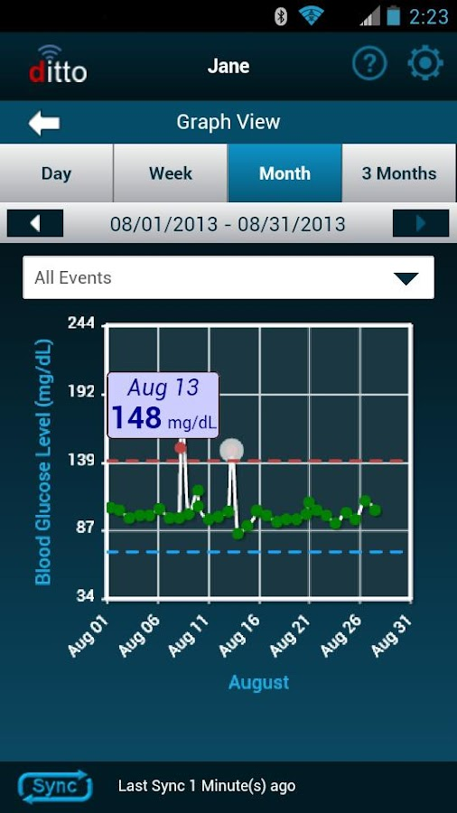 ditto Glucose Logbook- screenshot