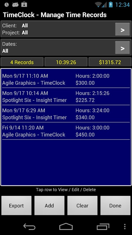 TimeClock - Time Tracker - screenshot