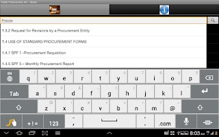 Screenshot of Public Procurement Act - Ghana