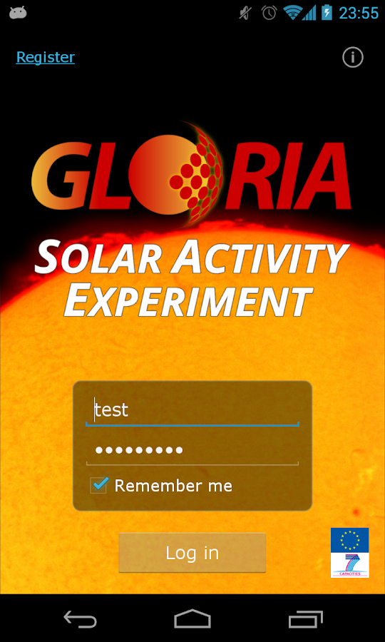 GLORIA Solar Activity: captura de pantalla