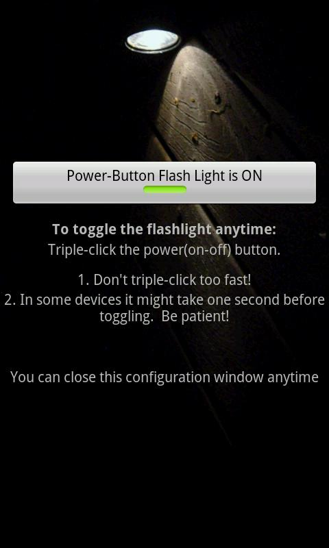 Power-Button Flash Light - screenshot