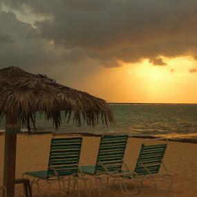 Cayman Sunset by Mary Gerakaris - Artistic Objects Furniture ( warm scenes, caribbean beaches, beach sunsets, grand cayman, nature, beach scenes,  )