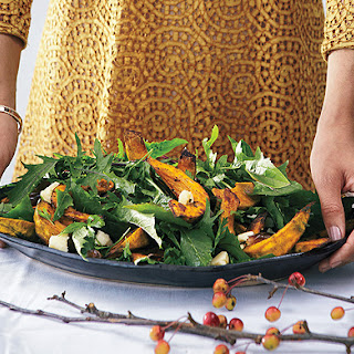 Roasted Squash with Date Relish and Pumpkin Seeds.