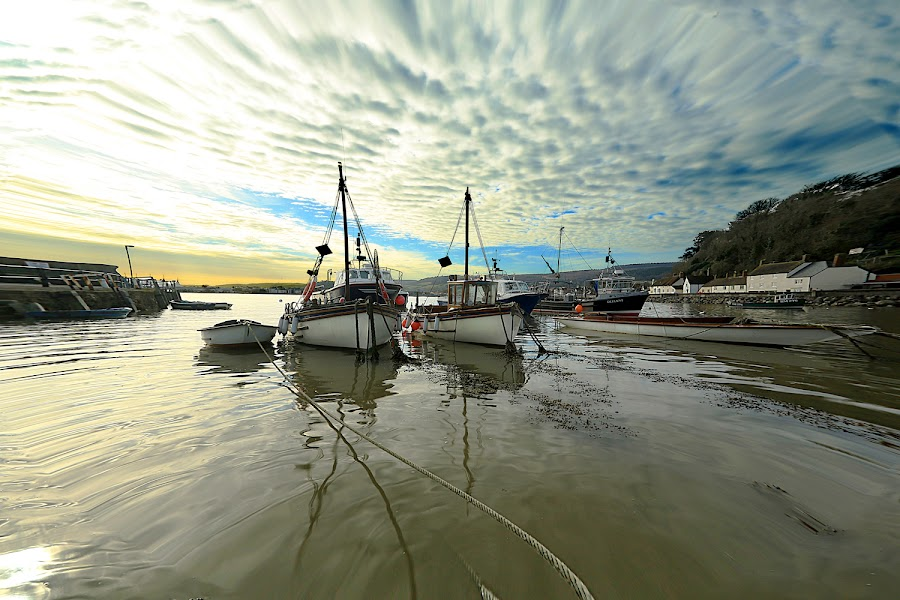 Moody Harbour by Dave Roberts - Landscapes Waterscapes ( moody skies, harbour, boats )