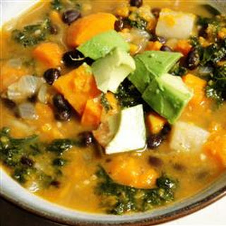 Roasted Vegetable and Kale Soup.