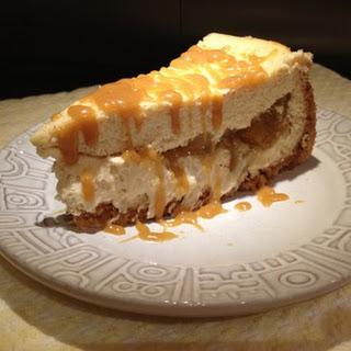 Apple Pie Cheesecake With Warm Caramel Sauce.