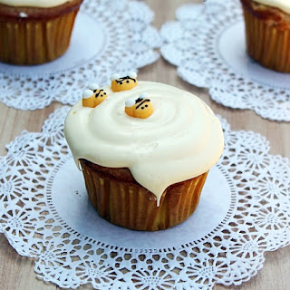 Honey Vanilla Cupcakes with Honey Buttercream Frosting.