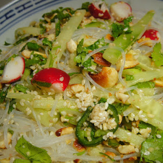 Scallion, Radish, and Cucumber Salad with Cashews and Vermicelli