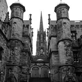 Edinburgh by Jamie Tambor - Black & White Buildings & Architecture ( scotland, building, edinburgh, black and white, iphone )