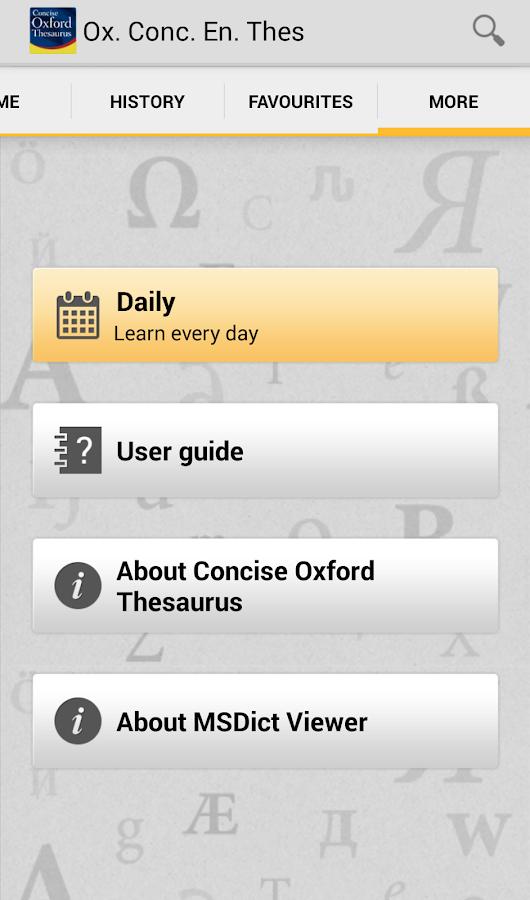 Concise Oxford Thesaurus TR - screenshot