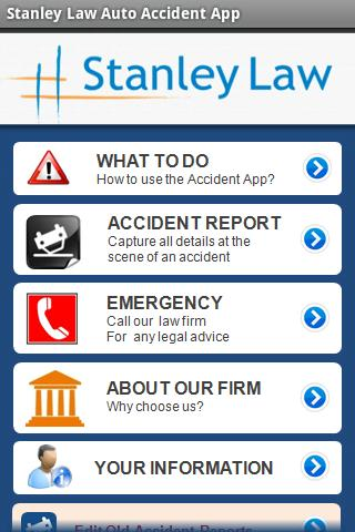 Stanley Law Auto Accident App- screenshot
