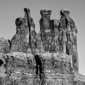 Three Gossips by Craig Pifer - Black & White Landscapes ( arches np, desert, b&w, three gossips, black and white, stone, rock, landscape, national park, arches, southwest, gossips, formation )