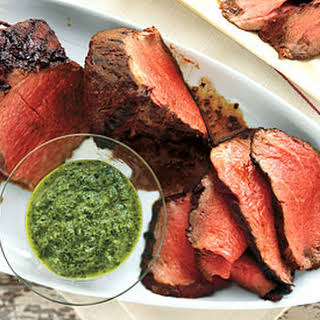 Char-Grilled Beef Tenderloin with Three-Herb Chimichurri.