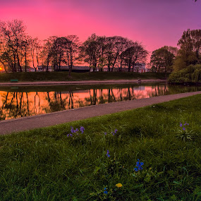 Central Park Fishing Lake by Ian Yates ヅ - City,  Street & Park  City Parks ( water, park, sunset, wallasey, cityscape, hour, landscape, pond, central, relection, golden, city,  )