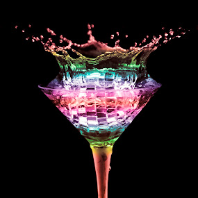 martini by Dietmar Kuhn - Abstract Water Drops & Splashes ( abstract, water, splash, color, drops, glass, rainbow,  )