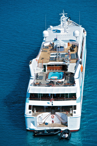 Tere-Moana-aerial-stern - Aerial view of the stern of Paul Gauguin Cruises' m/v Tere Moana.