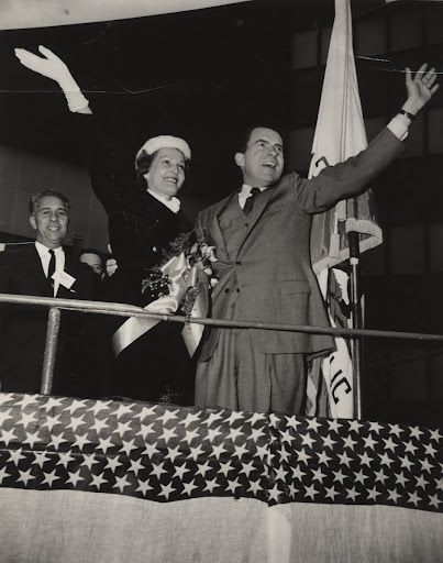 Richard Nixon and wife Pat campaigning in San Jose