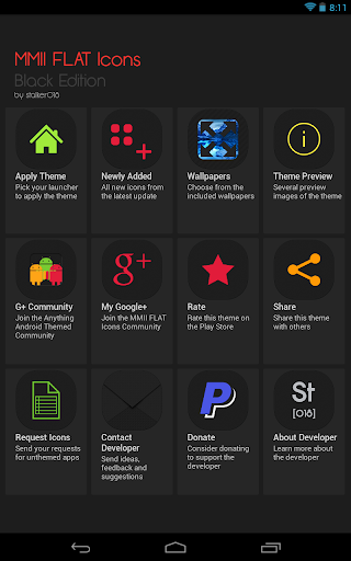 【免費個人化App】MMII FLAT Black Edition Theme-APP點子
