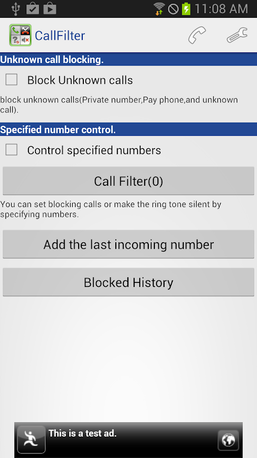 Call Filter - screenshot