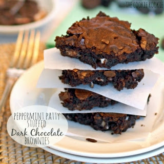Peppermint Patty Stuffed Dark Chocolate Brownies