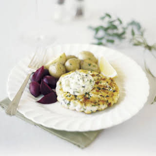 New England Fish Cakes with Herbed Tartar Sauce.