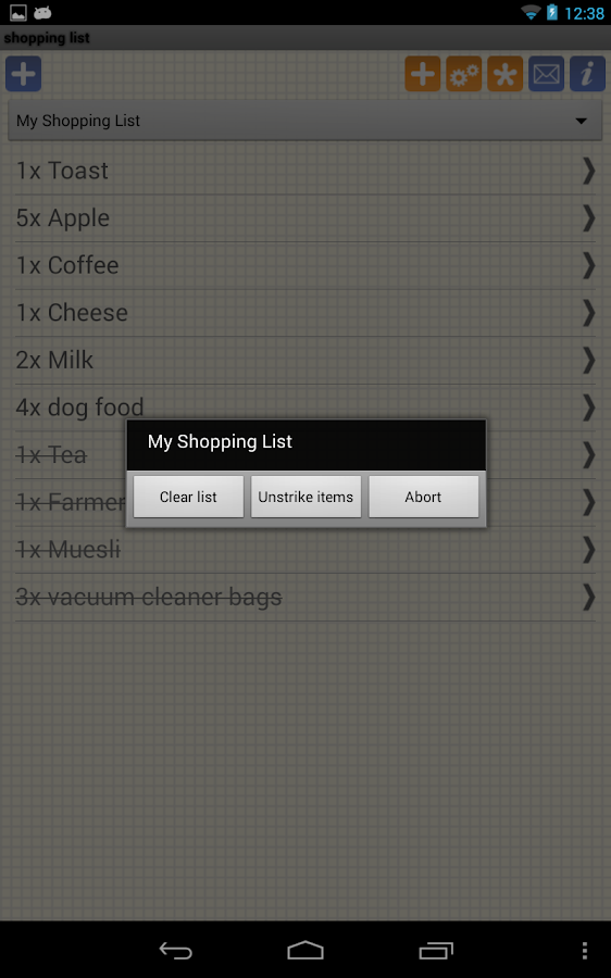 Shopping Grocery List - Free- screenshot