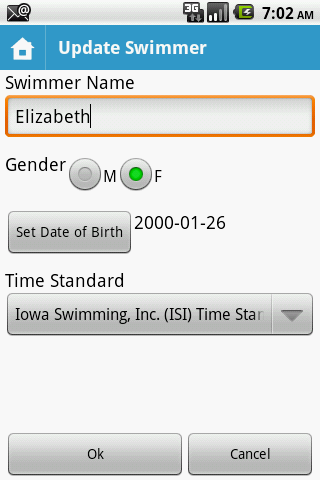 MySwimmingTimes - screenshot
