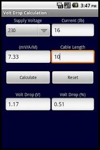 VOLT DROP CALCULATOR BS 7671- screenshot thumbnail