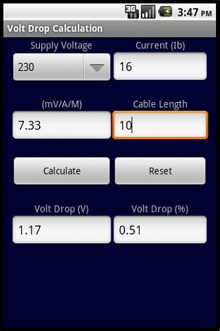 VOLT DROP CALCULATOR BS 7671- screenshot