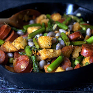 Asparagus with Chorizo and Croutons.