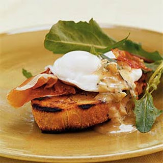 Breakfast Bruschetta with Prosciutto, Poached Eggs, and Warm Mustard Vinaigrette Recipe