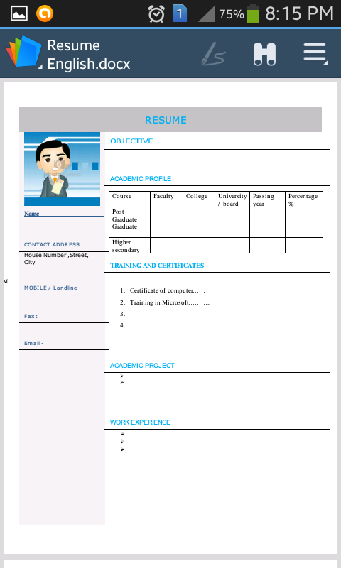 cv resume espaolspanish screenshot