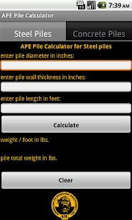 APE Pile Calculator - screenshot thumbnail