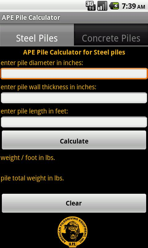 APE Pile Calculator - screenshot
