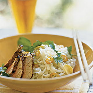 Curried Pork over Rice Noodles with Lime and Coconut.