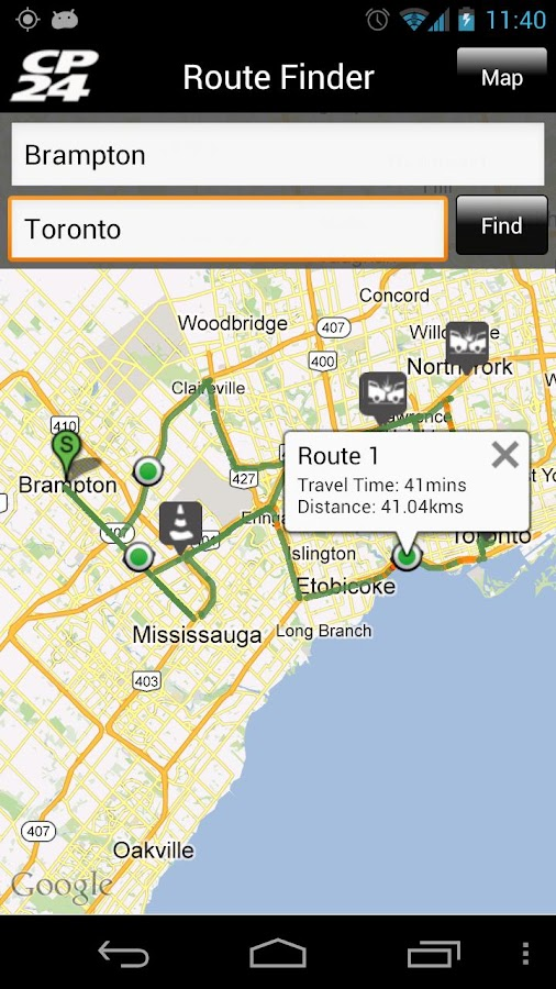 CP24 Traffic Alert - screenshot